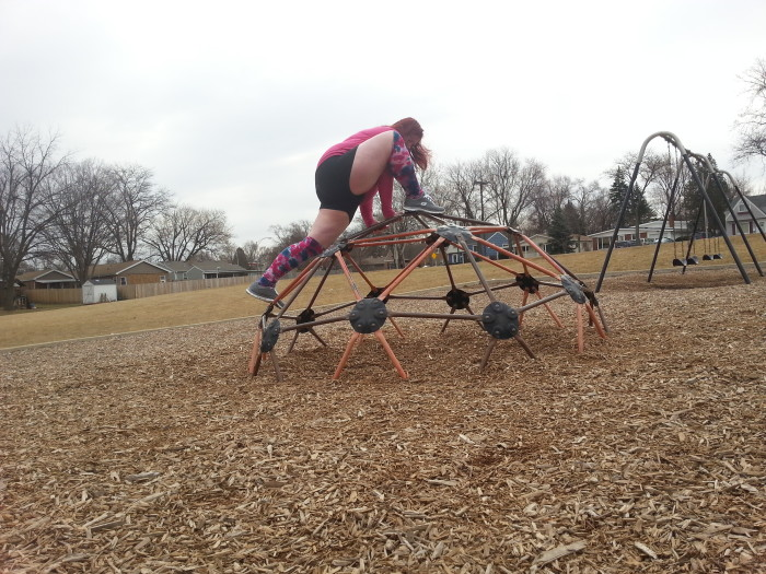 A couple months ago, I was practicing yoga on the very playground where I acted out The Leprechaun