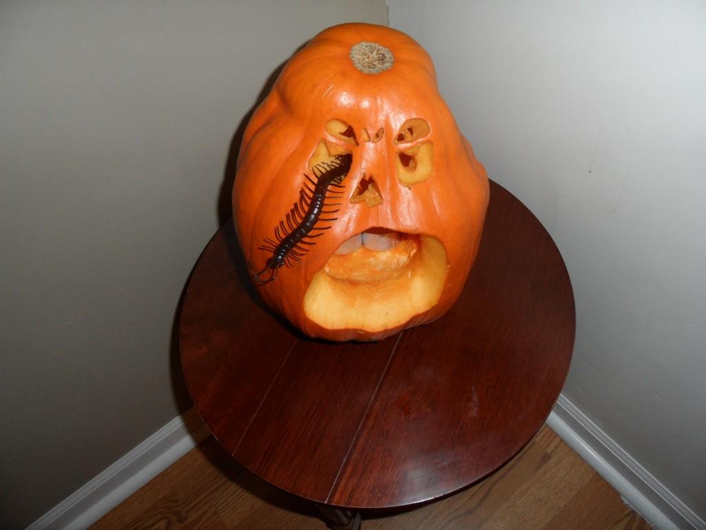 Jack o lantern with a bug crawling out of its eye