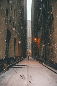 wintery alley at night