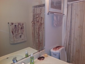 Make your bathroom look like a horror scene for Halloween with fake blood