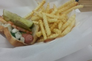 Vienna Beef Hot dog and fries