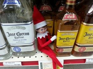 Elf on the shelf at the liquor store