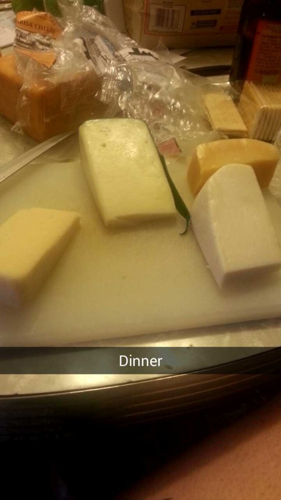 This was a recent SnapChat post. Looks like dinner to me!