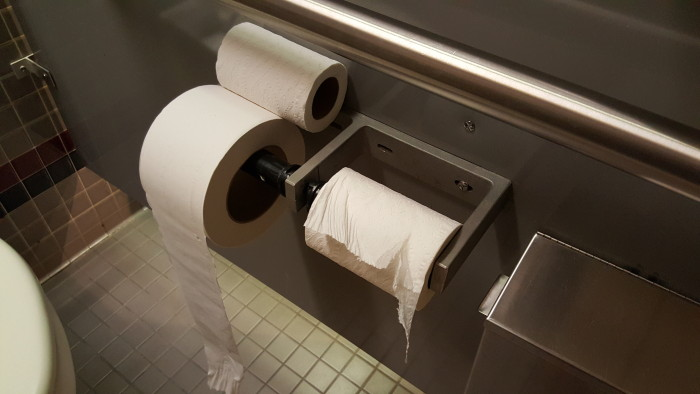 """I didn't have any pictures of two good TP rolls with the """"spare roll"""" but everyone knows this roll is the dangerous one."""