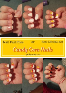 I saw a cool tutorial from Julep, and used it to make candy corn nail art.