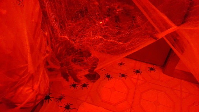 Use red lighting to increase the scare factor in your bathroom spider den