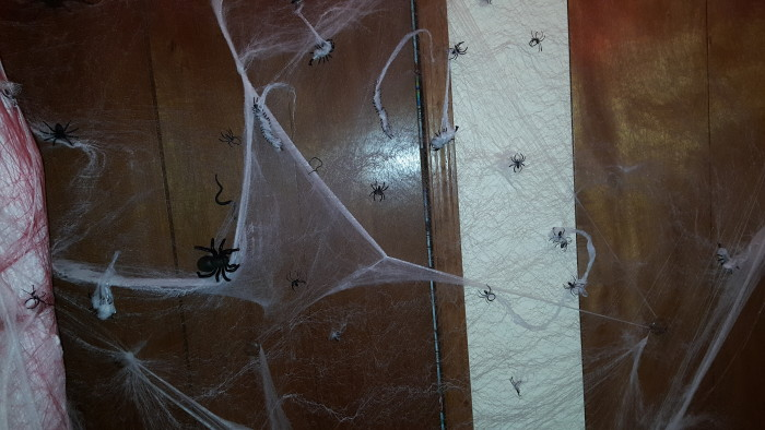 Use plastic spiders placed all over the webbing for the ultimate creepy space. Wrap other plastic bugs with webbing as if they were caught by the spiders
