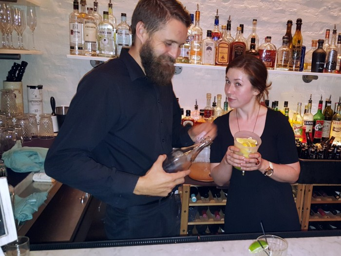 Jeremy the bartender and Gillian the server.