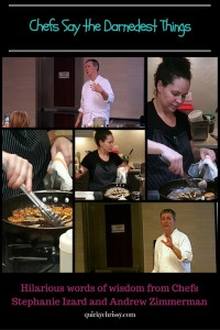 I recently had the pleasure of attending two food demonstrations by Chefs Stephanie Izard and Andrew Zimmerman of Top Chef and Iron Chef respectively. They were hilarious presenters and amazing chefs.