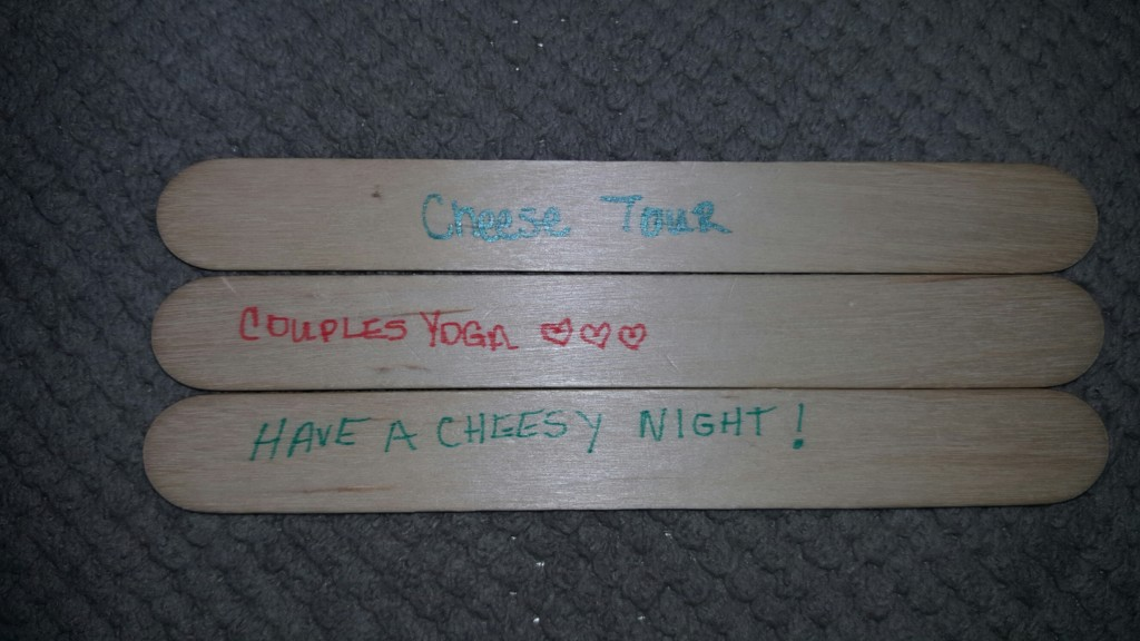 Wedding shower games: Date Jar date suggestions  (cheese tour, coupled yoga)