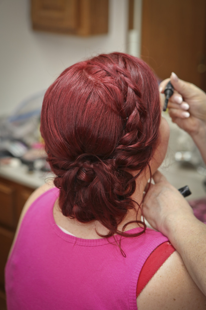 I wanted a boho chic, but sleek wedding hairdo with a side braid and curls and low-side pouf. My hairdresser nailed it.