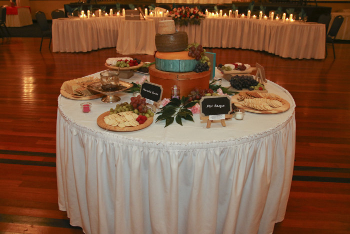 No cheese themed wedding is complete without wheels of cheese...