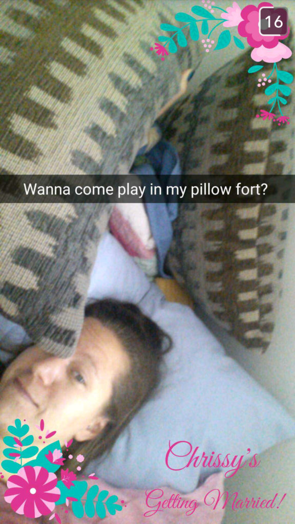 My bridesmaid created a wedding morning blanket fort in the guest room and sent me a Snap to invite me to jump in on her cozy.