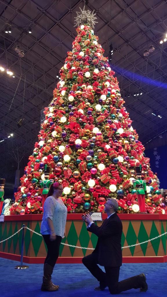 Proposal under the Christmas tree at Winter Wonderfest