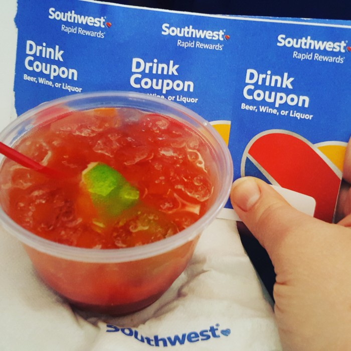 Southwest free drink coupons and a bloody Mary
