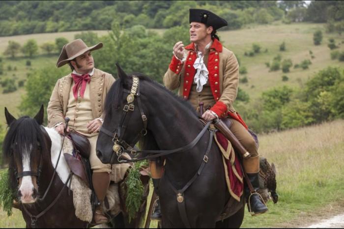 Gaston and Lefou riding horses