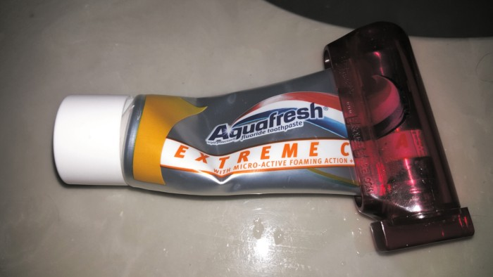 Aquafresh toothpaste in a toothpaste roller