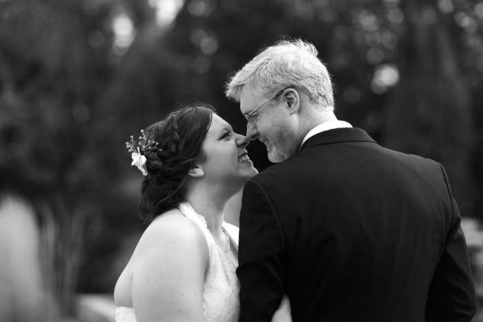 black and white wedding photo Eskimo kiss