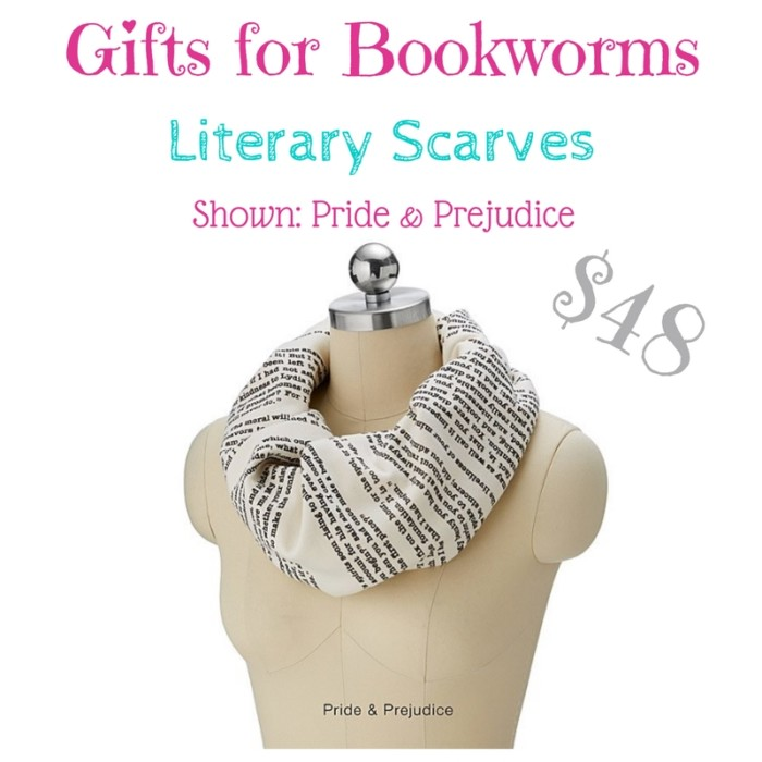 gifts for bookworms: pride and prejudice scarf $48