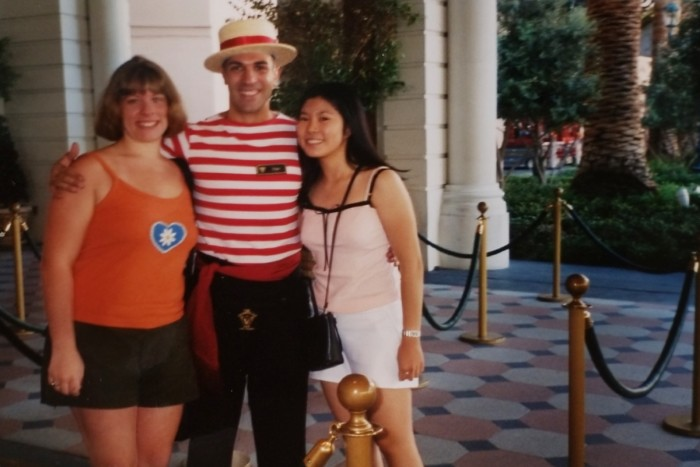 Chrissy and friend with gondolier in Las Vegas Bellagio
