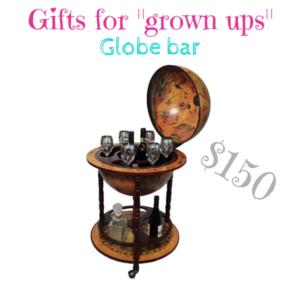 Gifts for grown ups sixteenth-century Italian old world globe bar $150