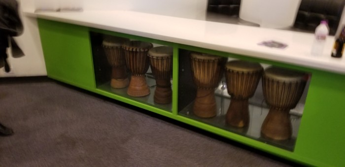 Djembe! drums in the Apollo Theater lobby