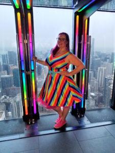 Wearing a Rainbow Dress at 360 Chicago TILT