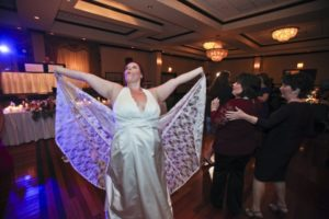 Wedding blooper photos: Bat dress