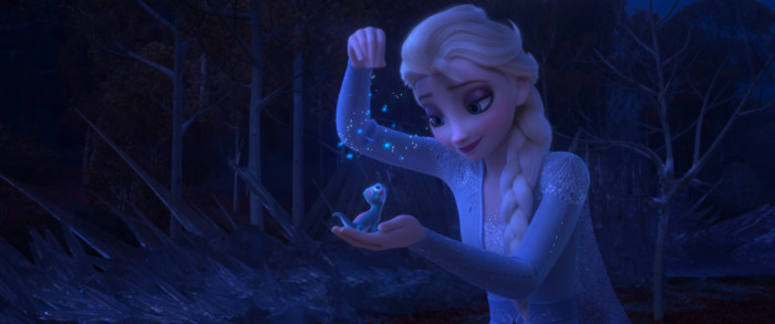 Elsa sprinkles Bruni with snowflakes
