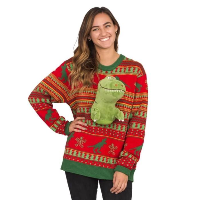 3D plush dinosaur ugly Christmas sweater