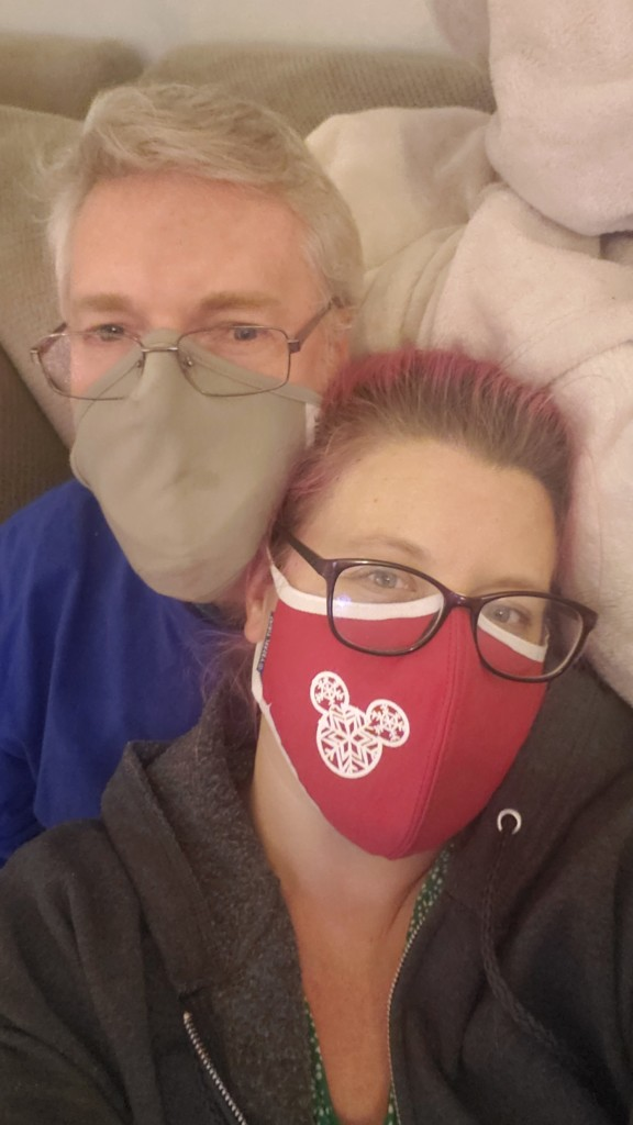Brian and Chrissy masked and drunk on Christmas
