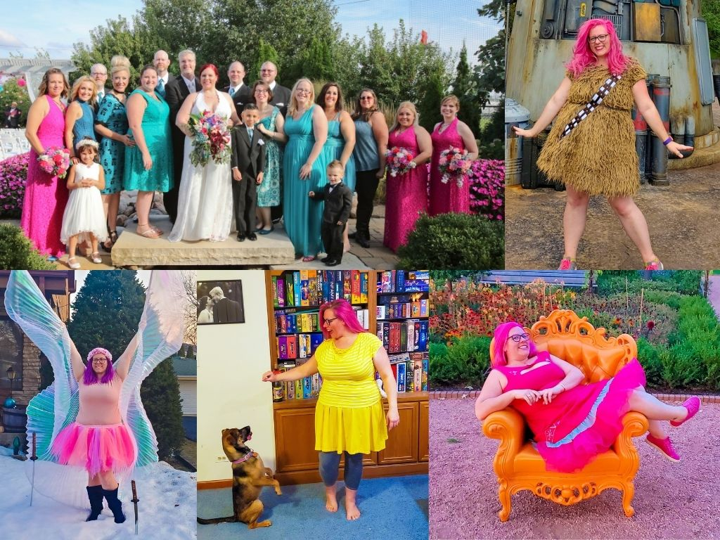 About Chrissy Collage: Pink and Teal Wedding Bridal party, Chrissy in a Chewbacca dress, Chrissy on an orange chair in a garden, Chrissy with belly dancer wings, Chrissy and dog Nia tricks for treats